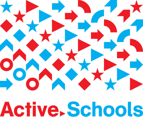 Red and Blue arrows and shapes Active Schools Logo