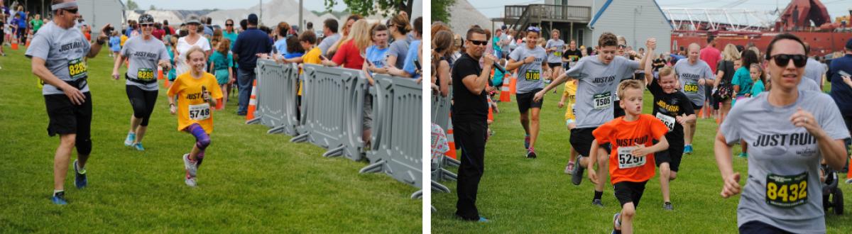 Kid in yellow shirt running, group of people running